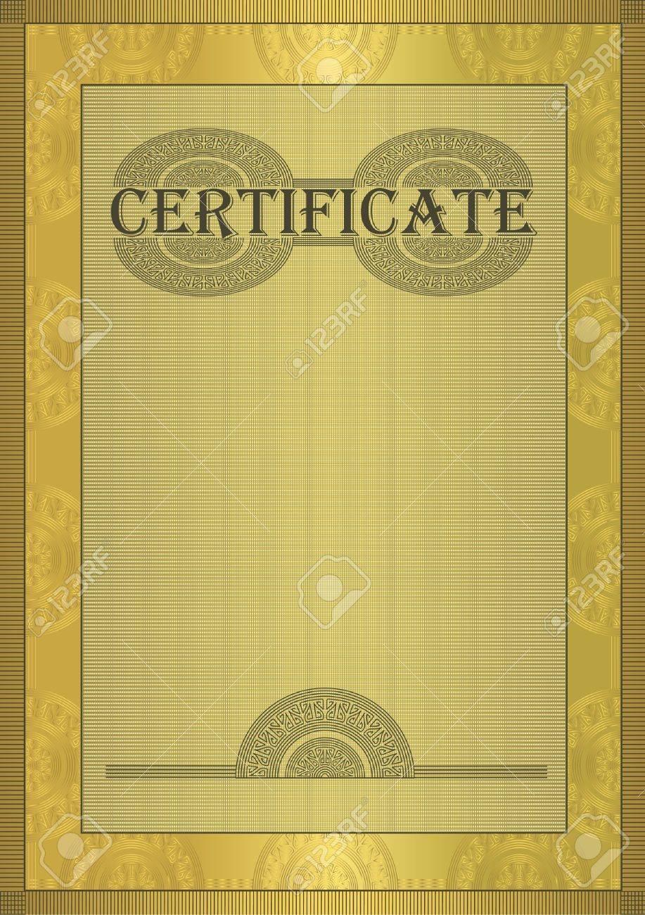 raster Certificate gold ornament frame Stock Photo - 10503377