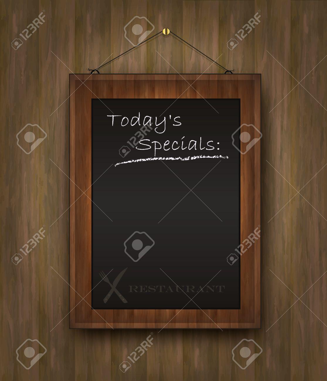 vector blackboard wood menu Todays special black Stock Vector - 10754350