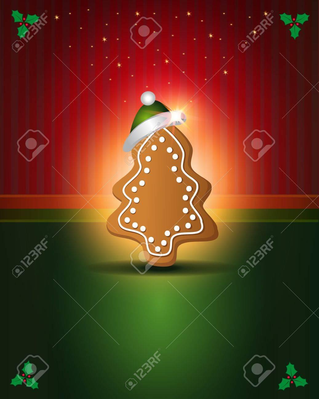 Weihnachtskarten Rot Grün Lebkuchen Glückwunsch Vorlage Lizenzfrei ...