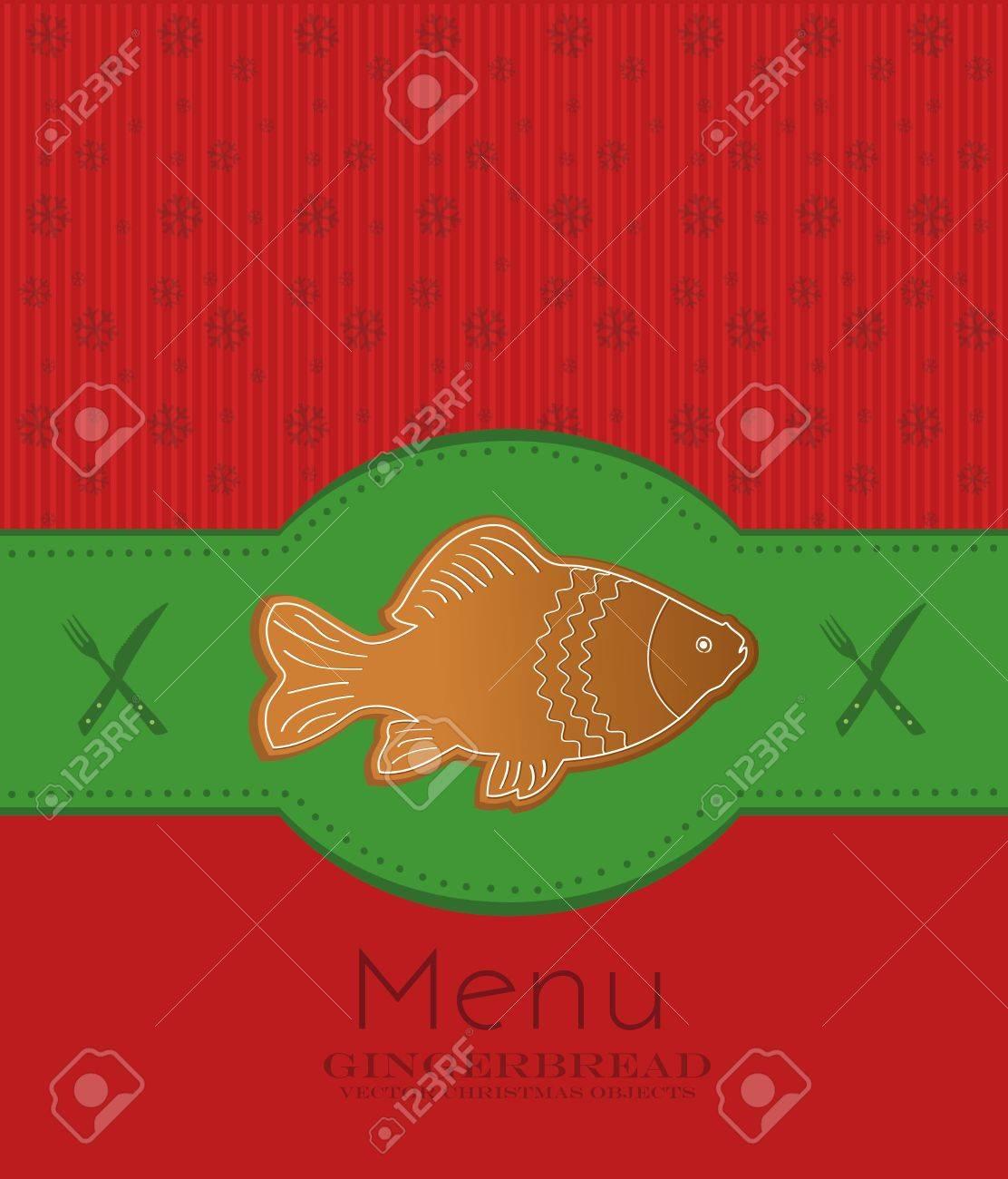 christmas menu card gingerbread fish carp Stock Vector - 11308650