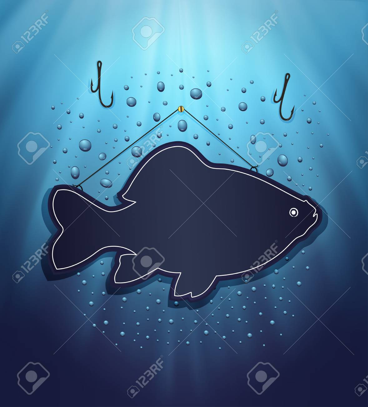 raster blackboard fish water blue background drops Stock Photo - 13166292