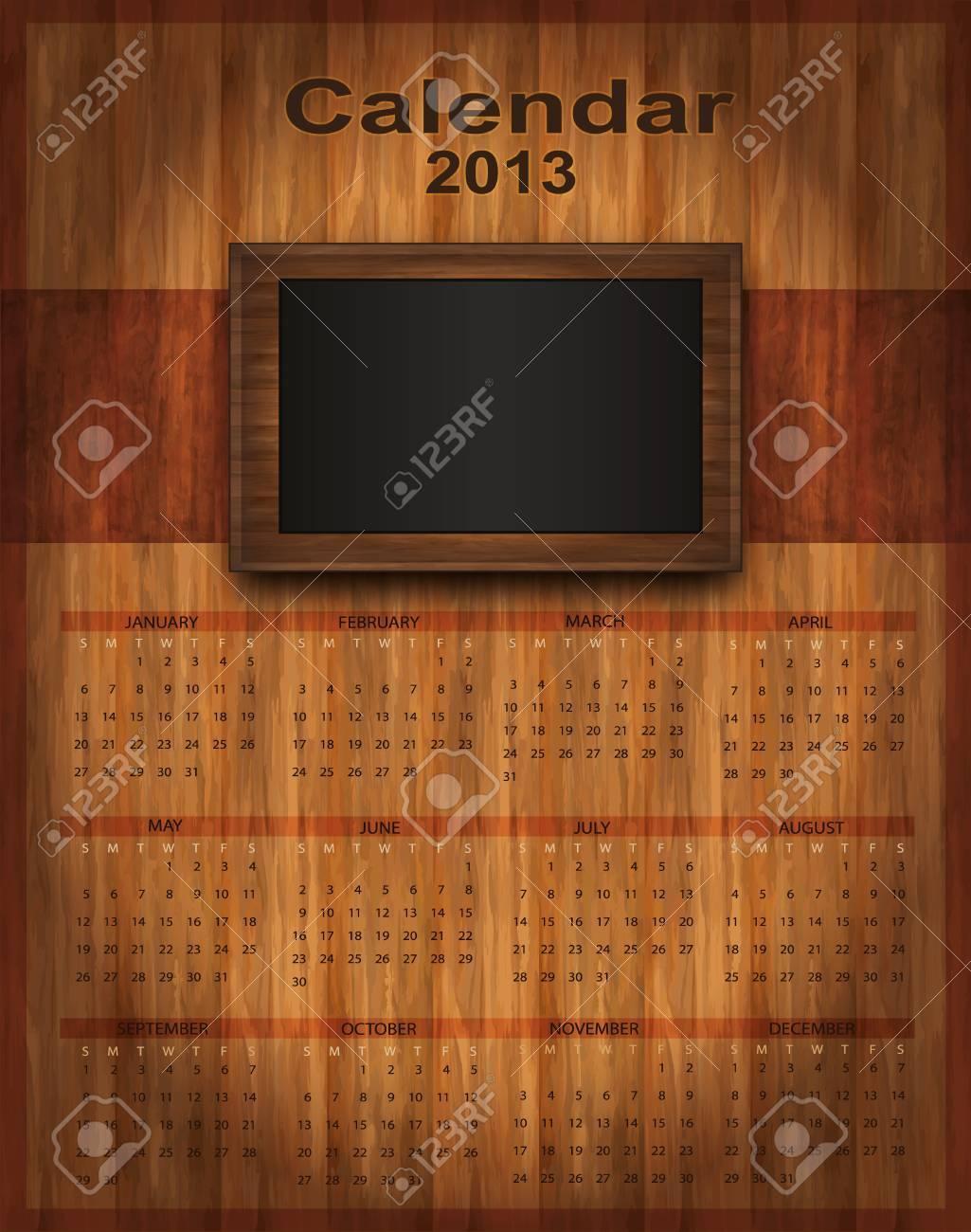 Calendar 2013 Wood Frame