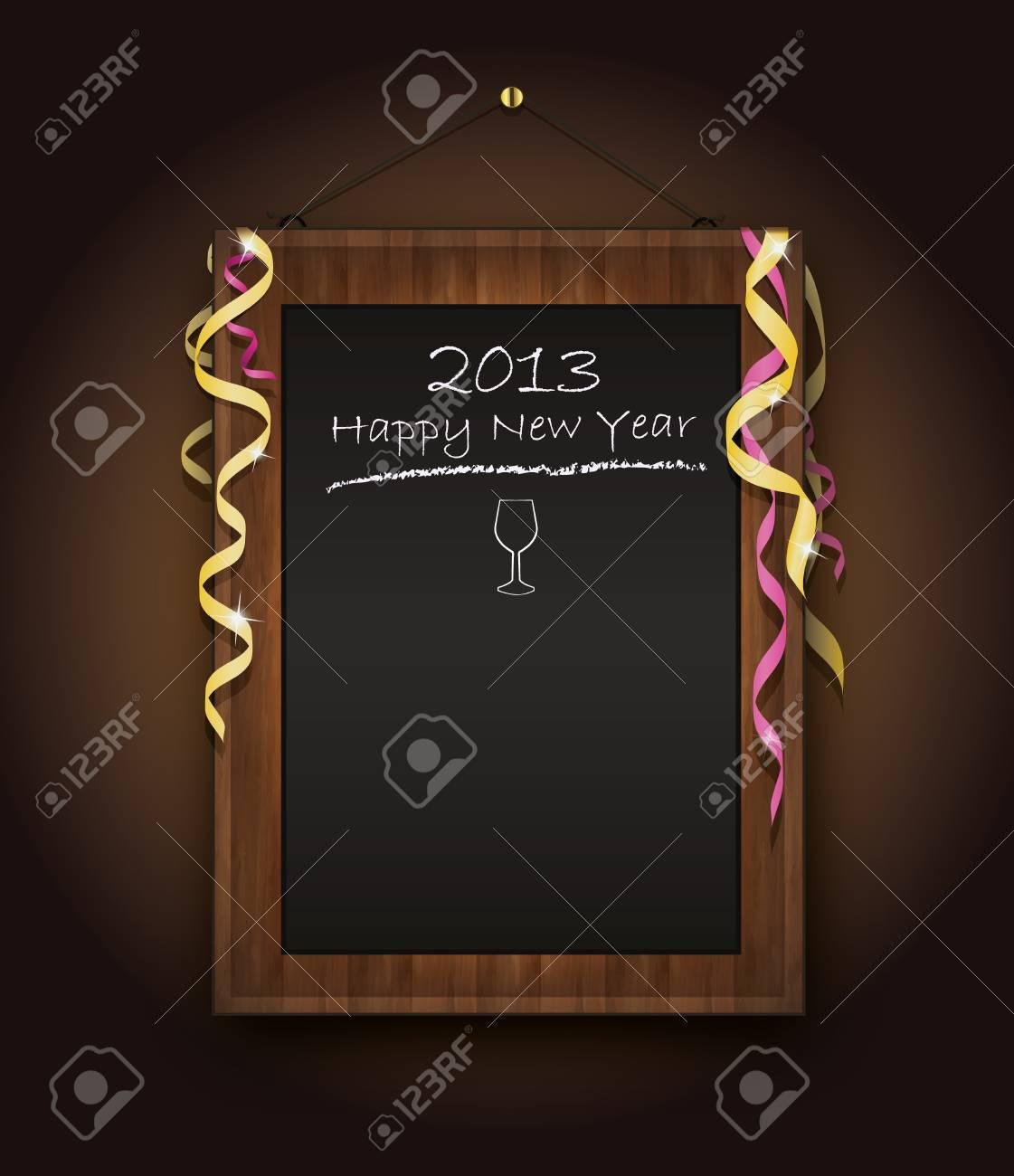 blackboard new Year  menu 2013 black Stock Vector - 14315871