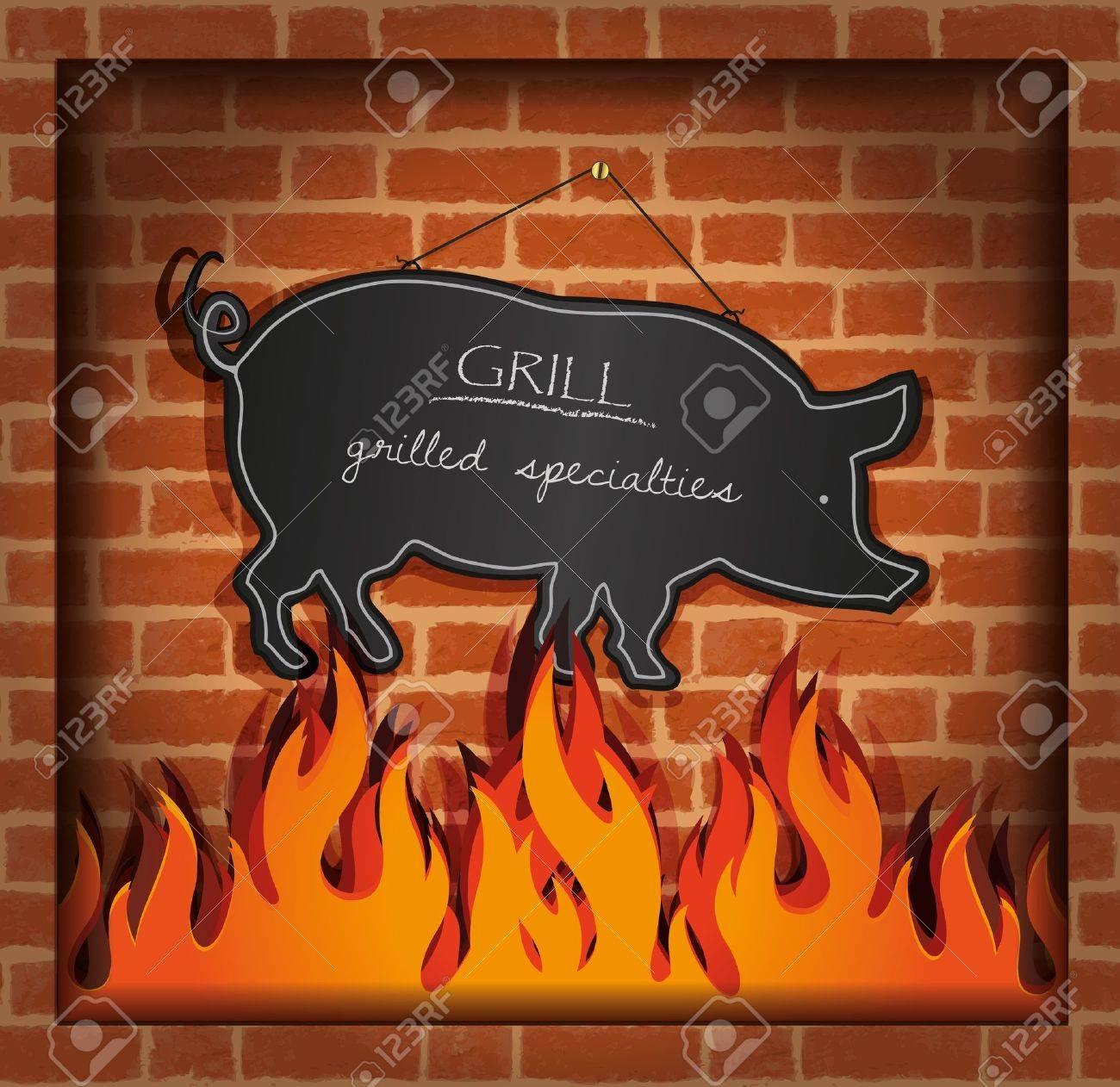 vector blackboard pig fireplace grill Stock Vector - 14315868