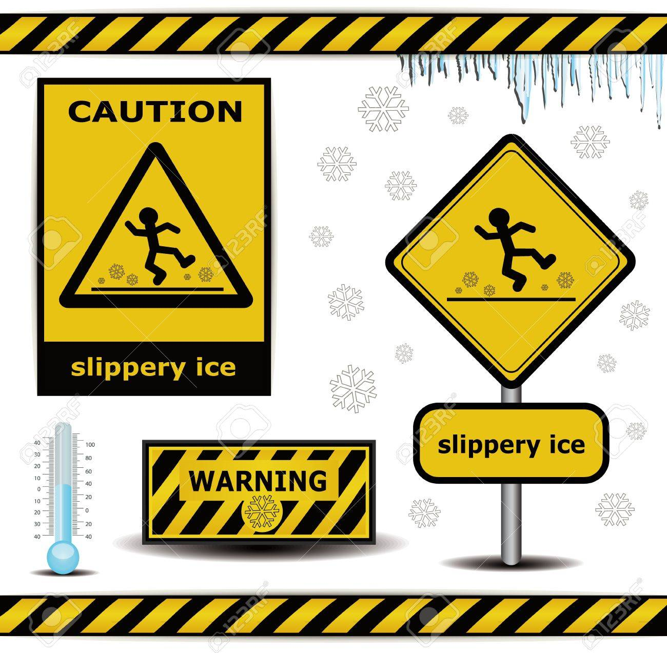 raster sign caution slippery ice warning collection Stock Photo - 15621996
