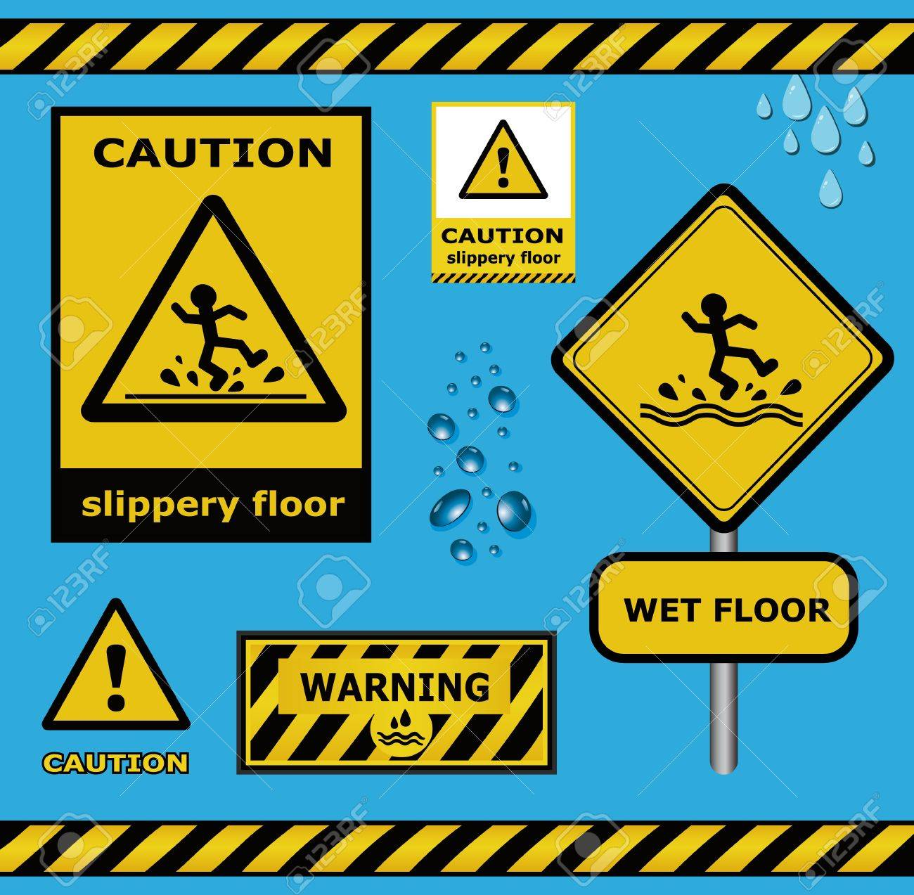 raster sign caution slippery floor wet flor warning collection Stock Photo - 15621995