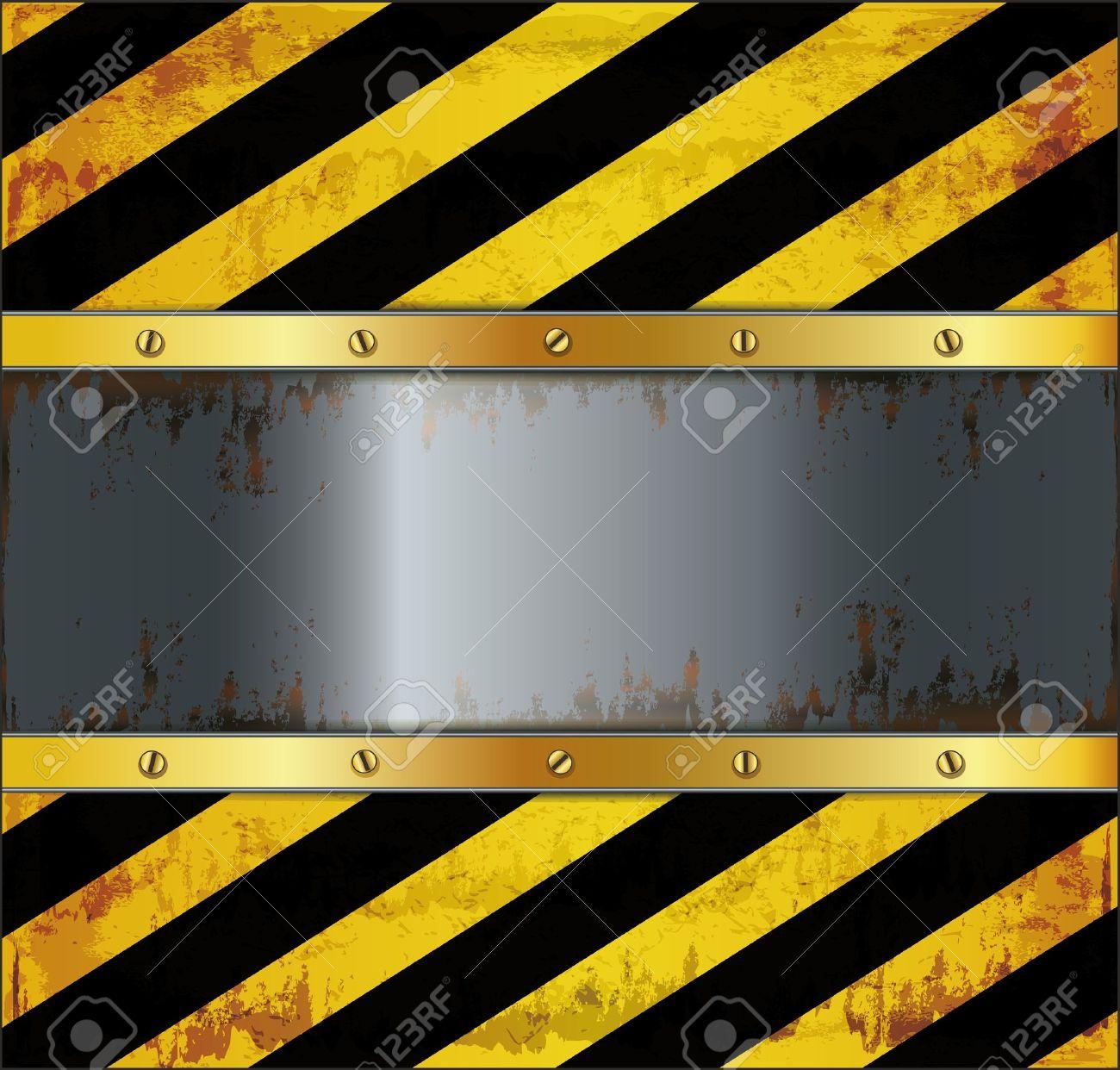blackboard caution board metal rusty Stock Vector - 16317152