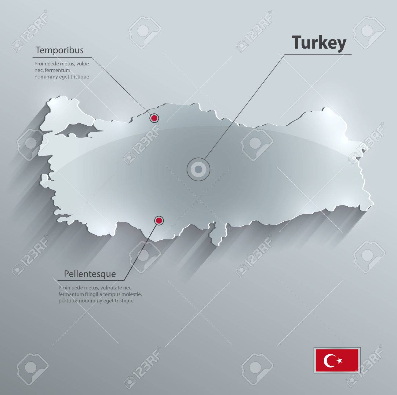 Turkey Map Glass Card Paper 3D Vector Flag Royalty Free Cliparts ...