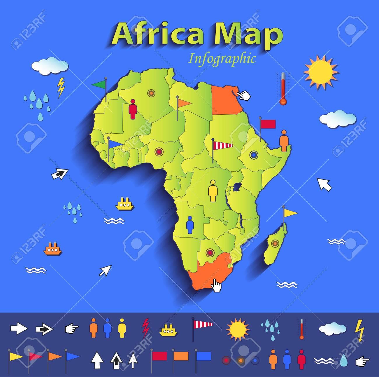 Afrika Karte Infografik Politische Landkarte Einzelnen Staaten