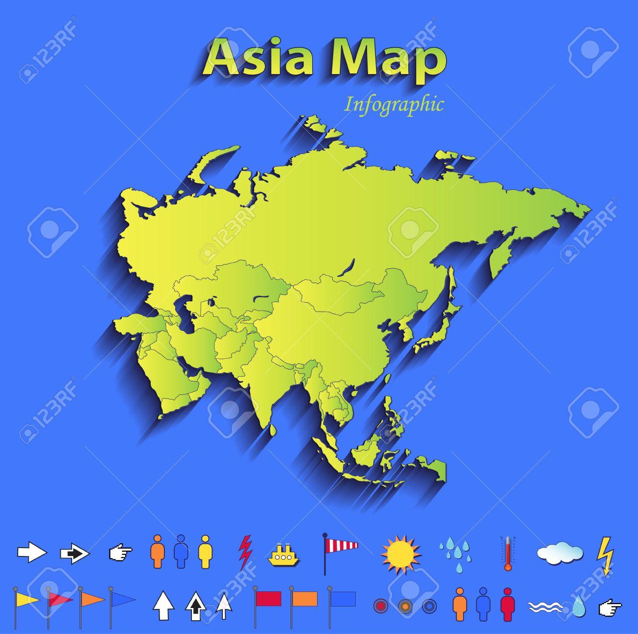 Landkarte Asien.Stock Photo