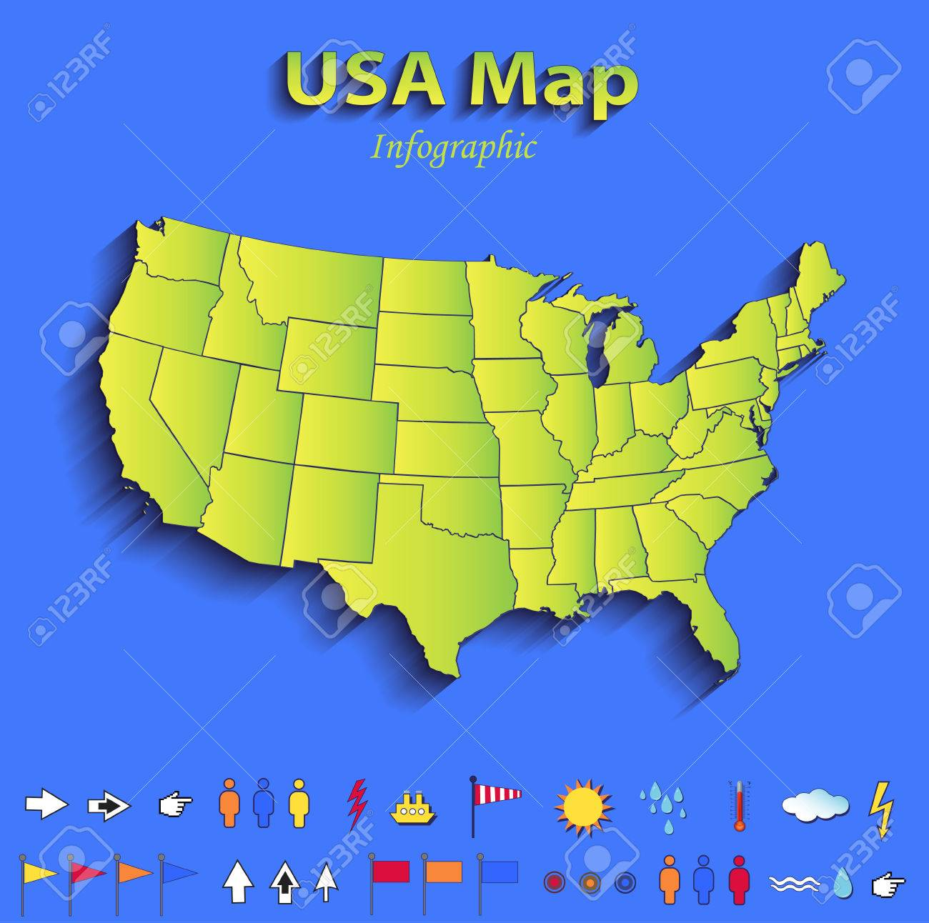 USA Map Infographic Political Map Individual States Blue Green - Map usa political