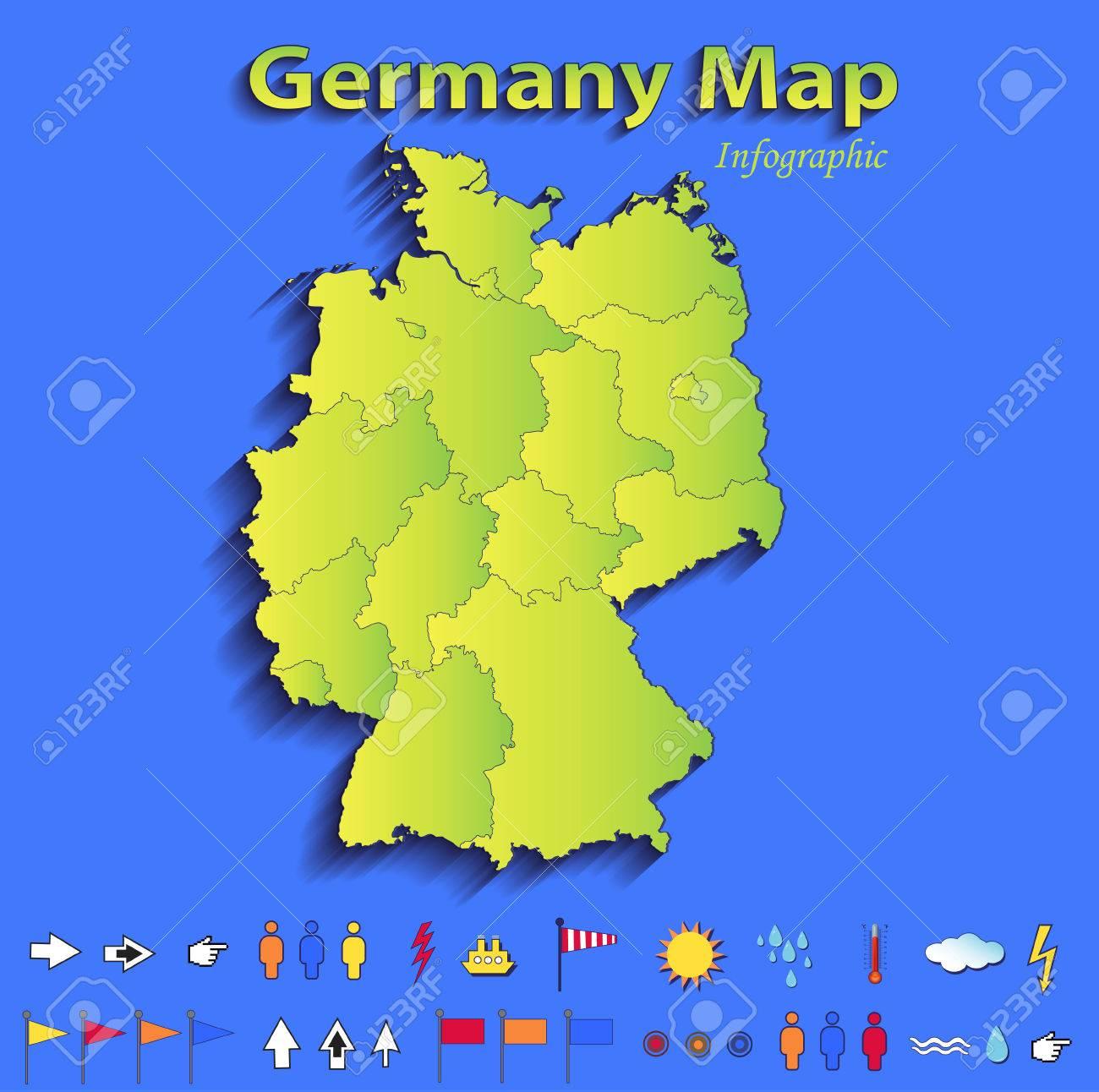 Land Karte Deutschland.Stock Photo