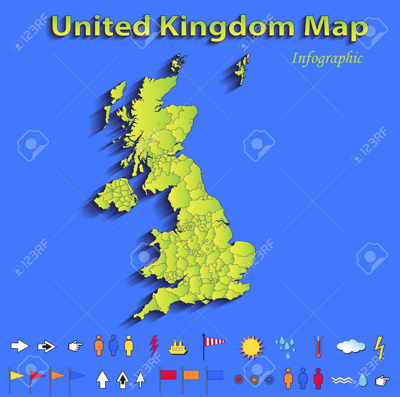 Britain England Map.United Kingdom Great Britain England Map Infographic Political