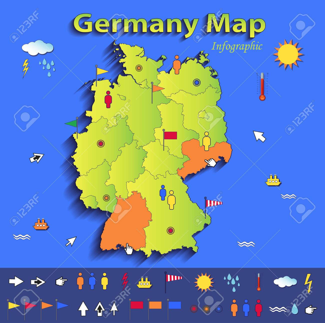 germany map infographic political map individual states blue green card paper 3d vector stock vector