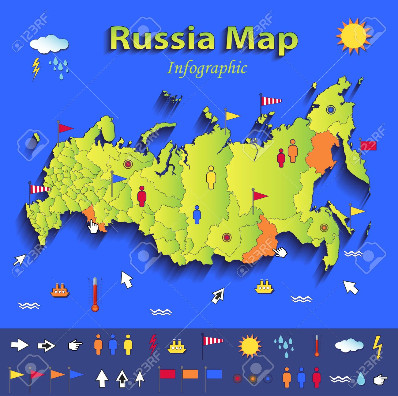Russia Map Infographic Political Map Individual States Blue Green