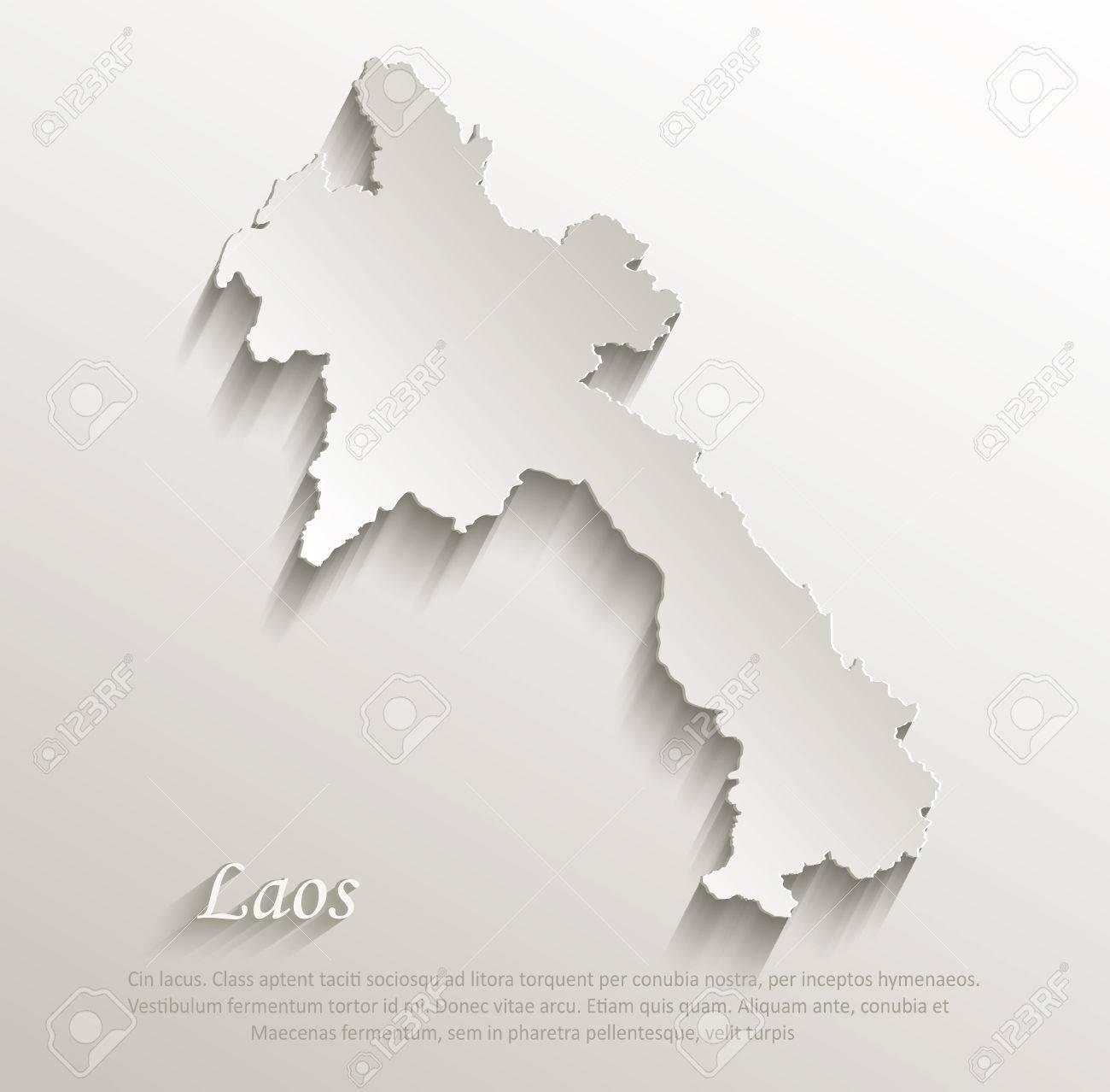 Laos Map Card Paper D Natural Vector Royalty Free Cliparts - Laos map vector