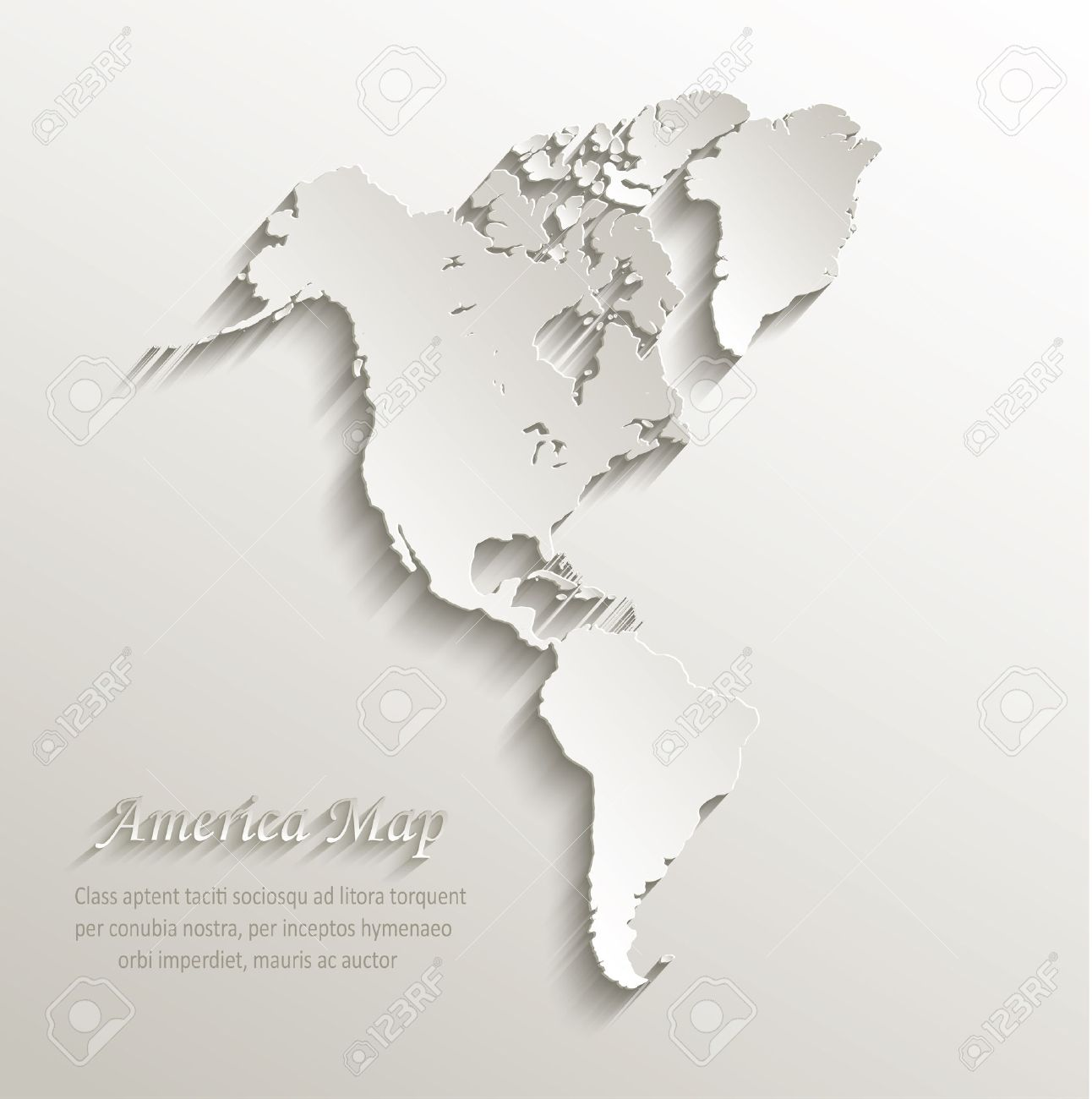 Map Of America 3d Vector.America Map Continent Card Paper 3d Vector