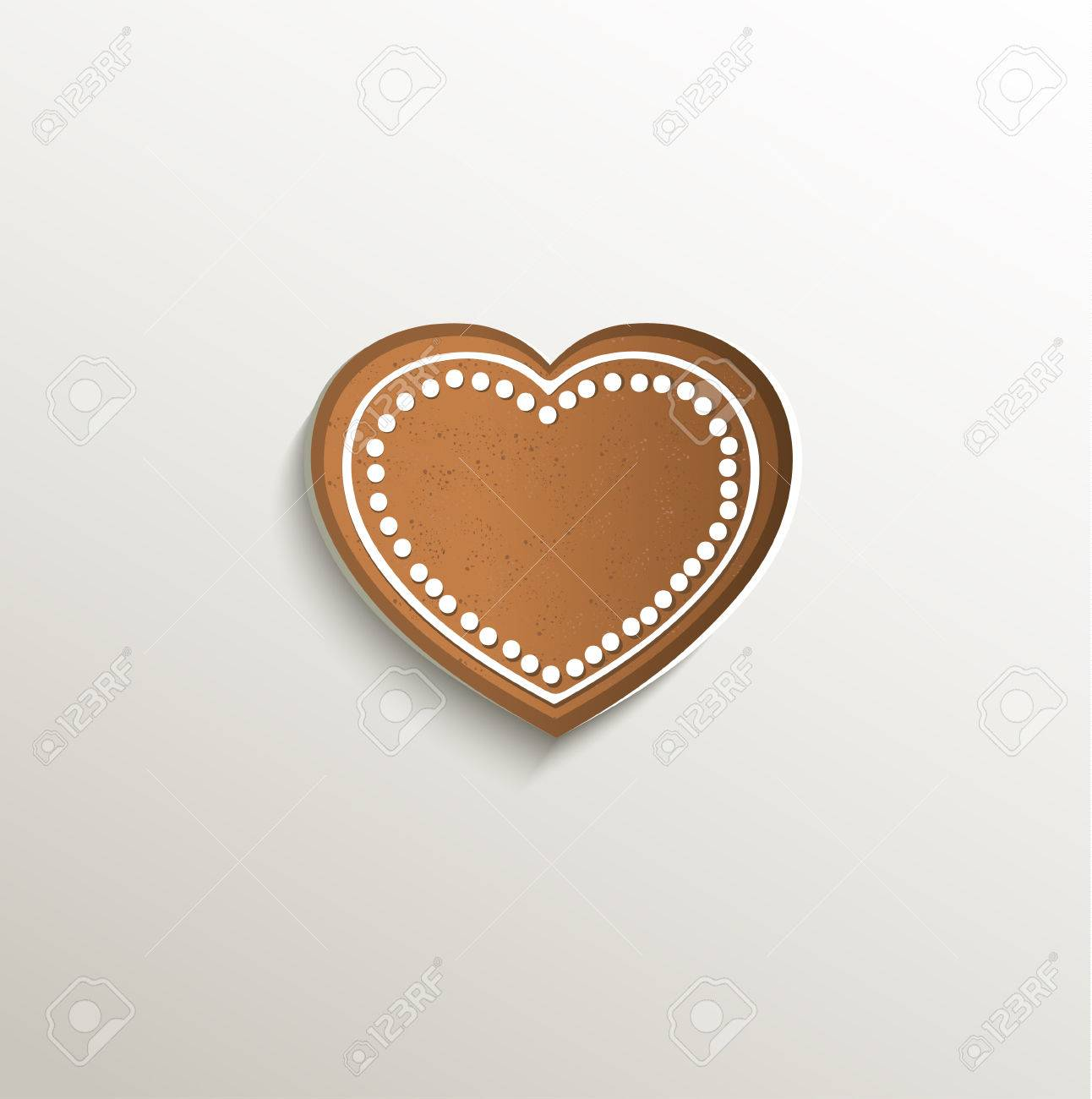 gingerbread heart love card paper 3d natural raster stock photo