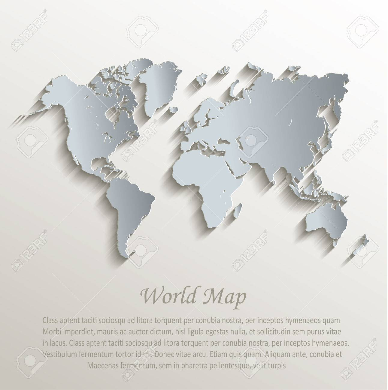 World map white blue card paper 3D vector - 33503653