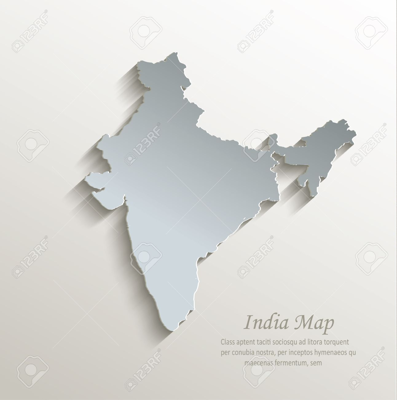 India Map White Blue Card Paper D Vector Royalty Free Cliparts - India map vector