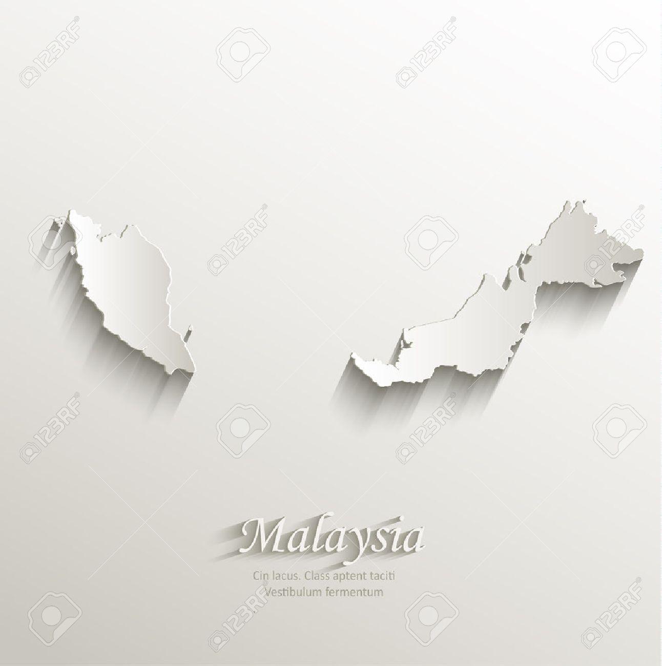 Malaysia Map Card Paper 3D Natural Vector Royalty Free Cliparts