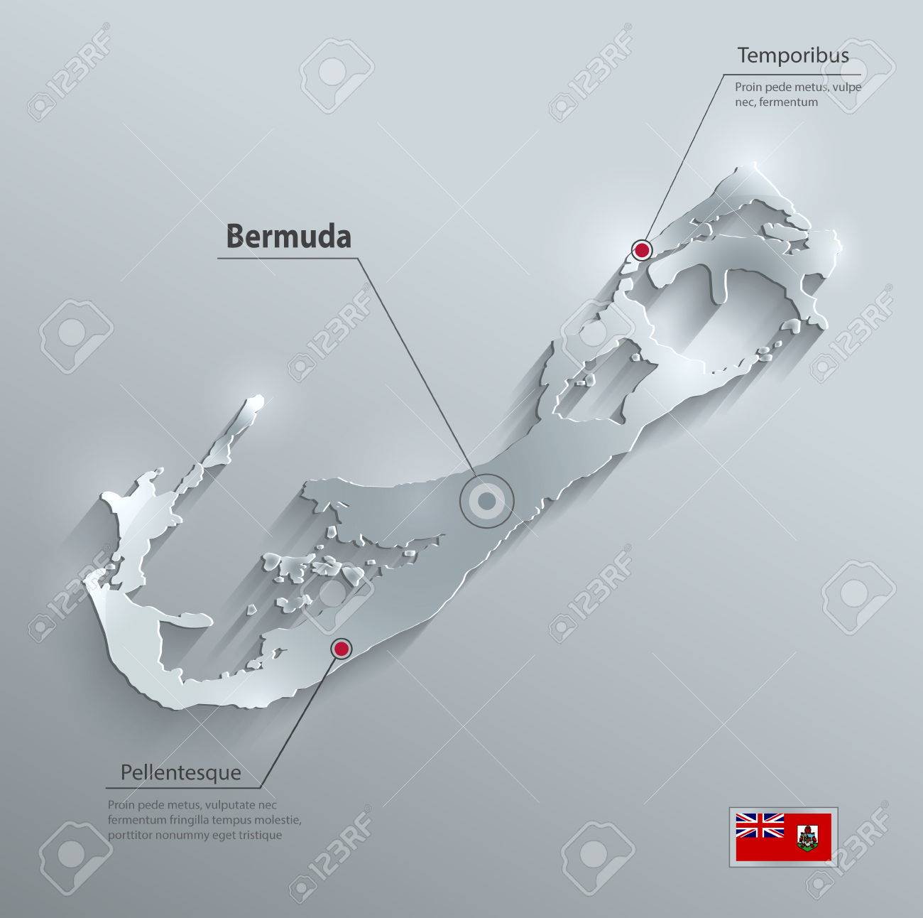 Bermuda Island Map Flag Glass Card Paper D Vector Royalty Free - Bermuda islands map