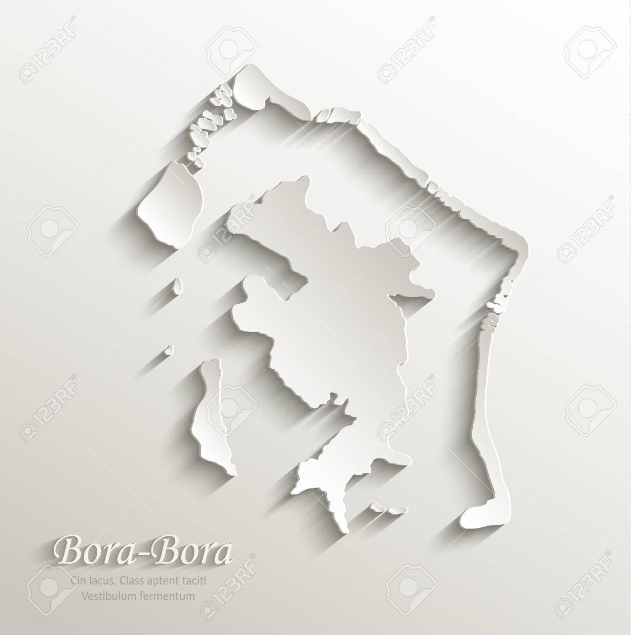 Bora Bora Papel Mapa De La Tarjeta 3d Polinesia Frances Vector Natural