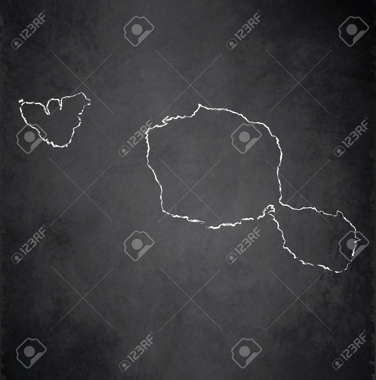 Tahiti map blackboard chalkboard raster French Polynesia