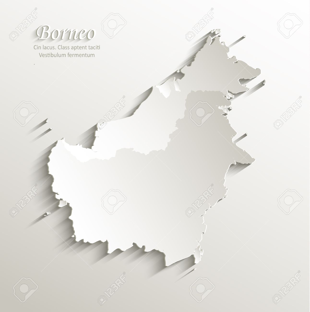 Borneo Map Card Paper 3D Natural Vector Malaysia Indonesia