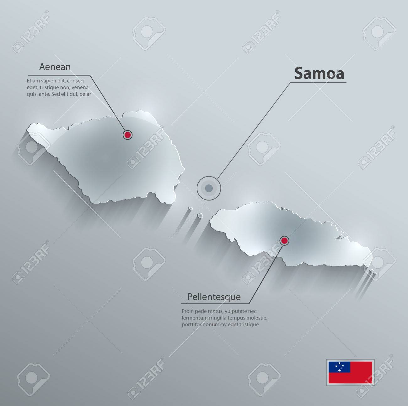 samoa map flag glass card paper 3d vector stock vector 48214798