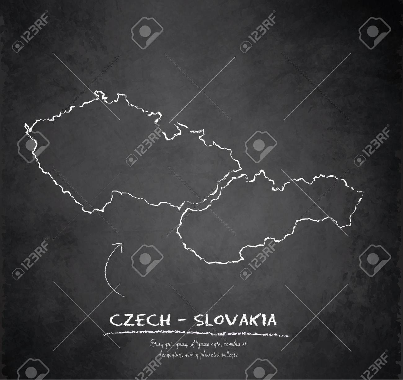 czech slovakia map chalkboard blackboard vector czechoslovakia