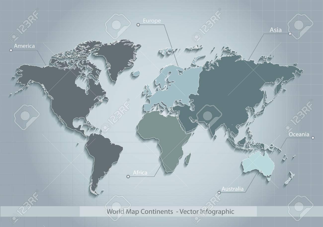 Carte Australie Sur Europe.Carte Du Monde Continents Vecteur Bleu Continents Distincts Individuels Europe Asie Amerique Afrique Australie Oceanie