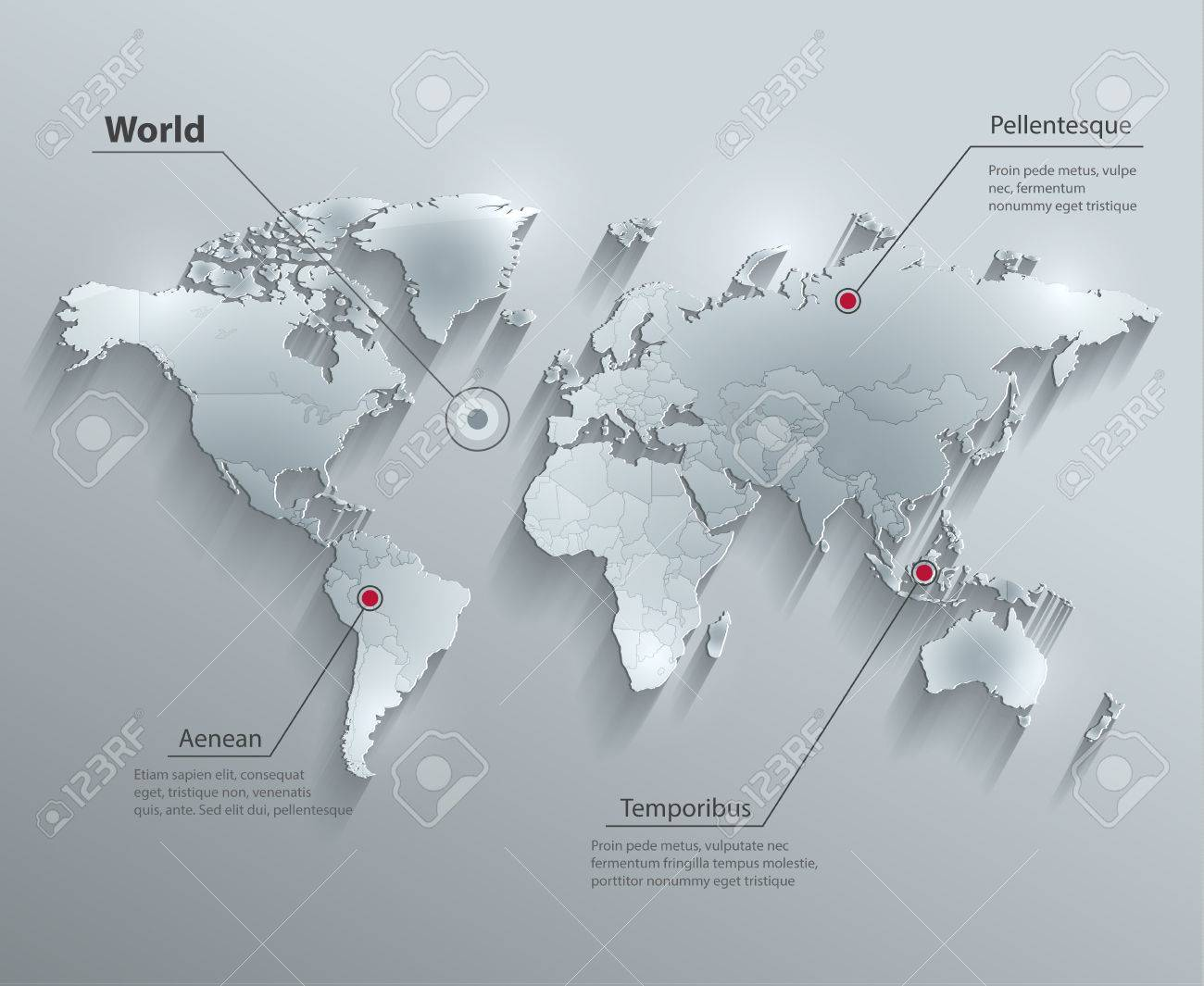 World political map glass card paper 3d individual states separate vector world political map glass card paper 3d individual states separate gumiabroncs Images
