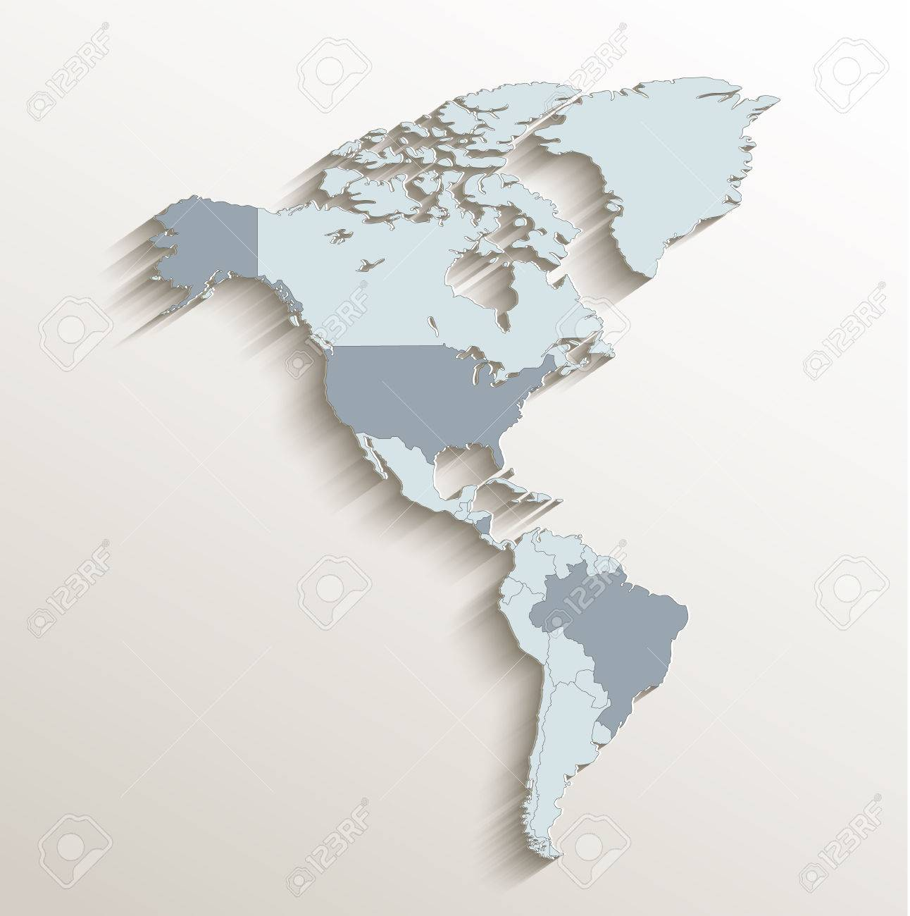 Map Of America 3d Vector.America Political Map White Blue 3d Vector