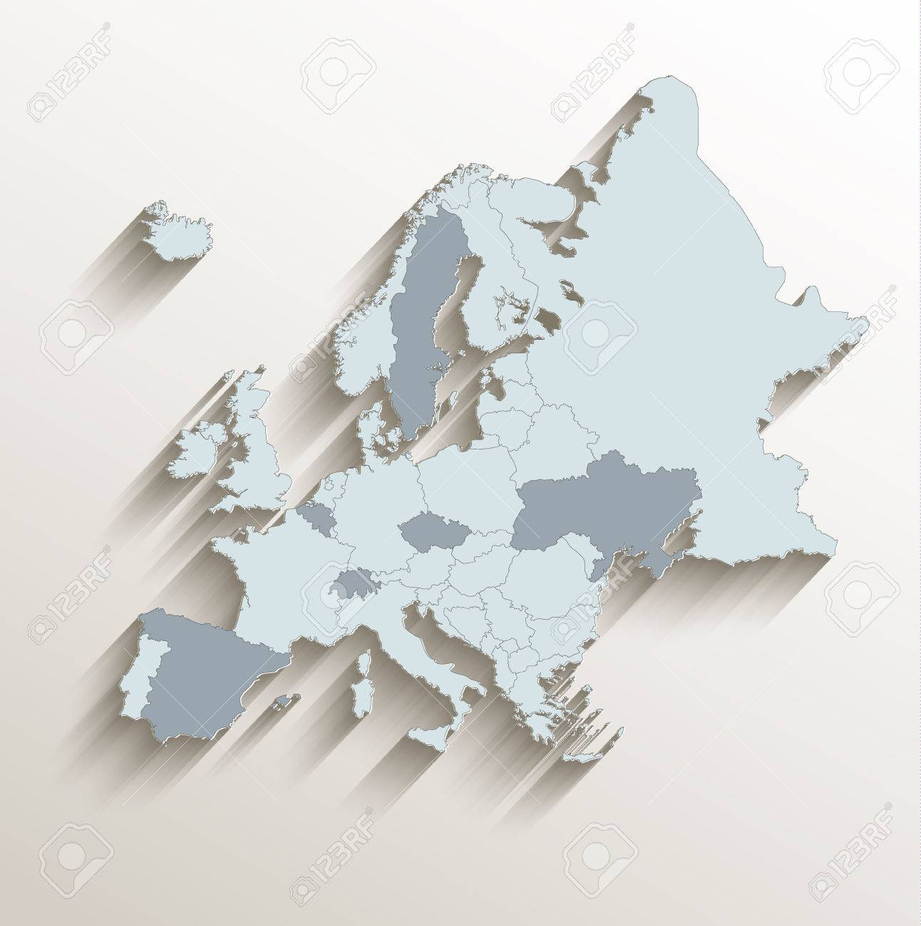 Europe political map white blue 3d vector royalty free cliparts europe political map white blue 3d vector stock vector 62635728 gumiabroncs Images