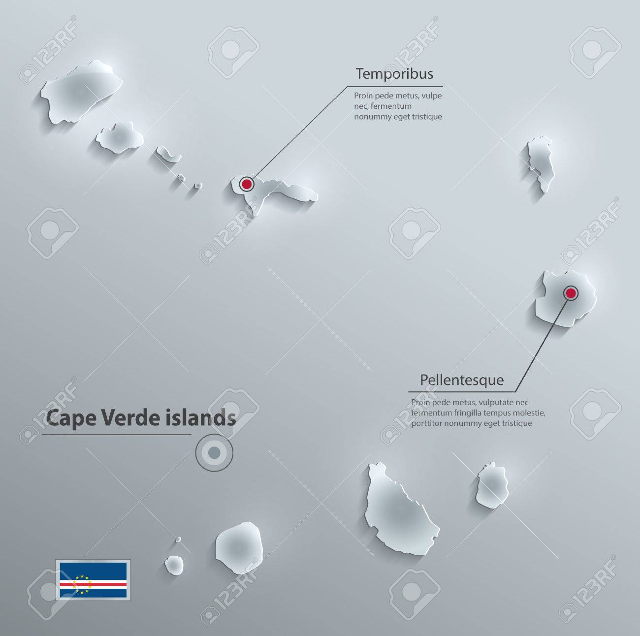 Cape Verde Islands Flag Map Glass Card Paper 3D Vector Royalty Free ...
