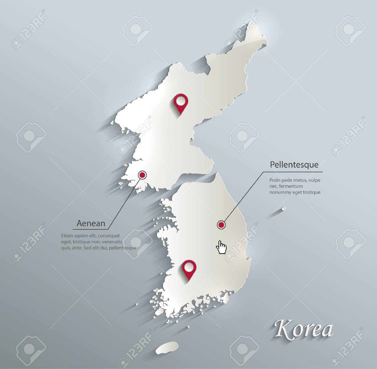 Korea map South North Separate blue white card paper 3D vector - 71633420