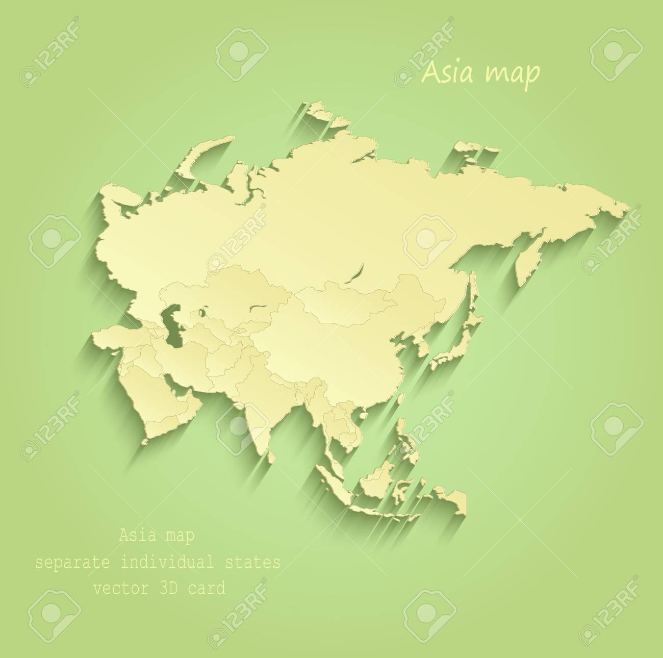 Asia map Separate Individual states green yellow vector - 73522006