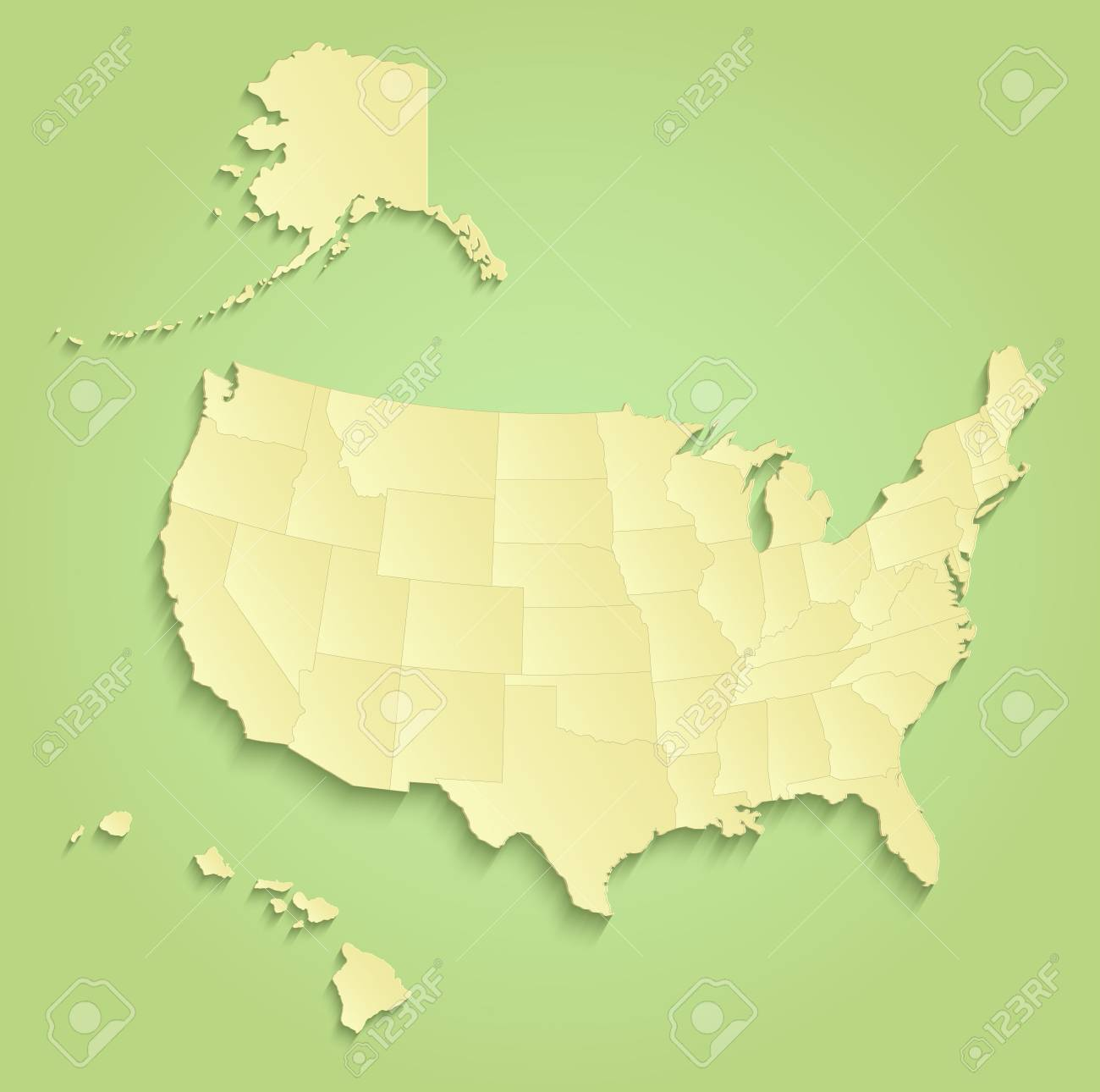 United States With Alaska And Hawaii Maps Separate Individual ...