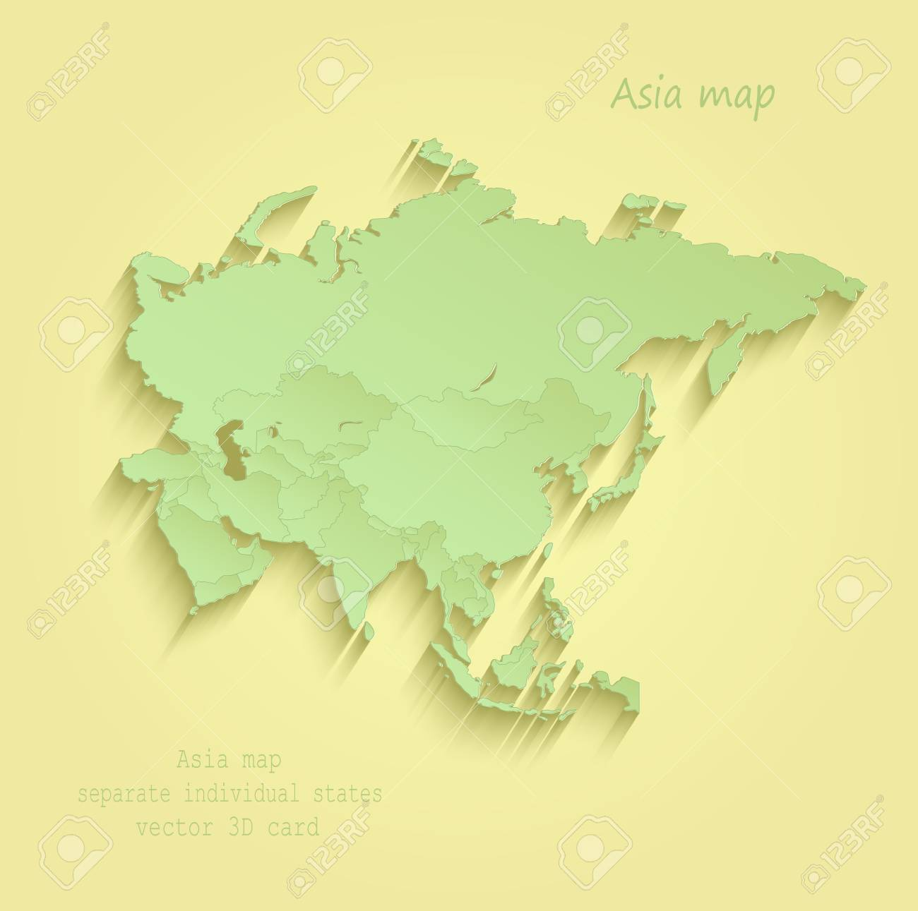 Asia map Separate Individual states yellow green vector - 73762089