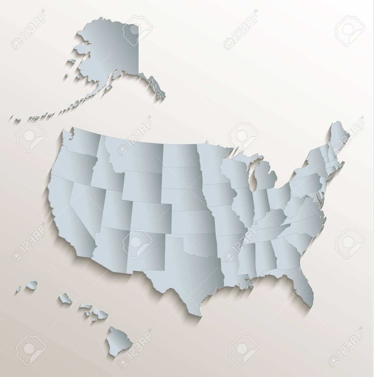 United States with Alaska and Hawaii white blue map card paper..