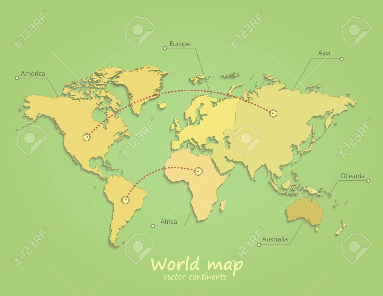 World Map Continents Green Yellow Vector Separate Royalty Free