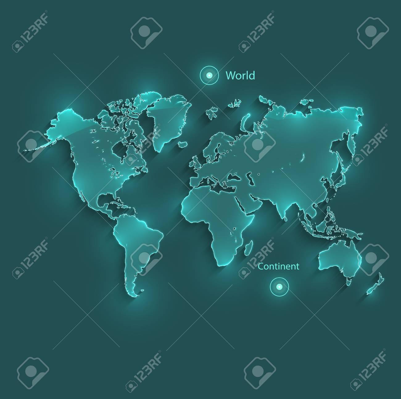 Carte Du Monde Lumineuse.Vecteur De Neon Lumineux De Carte Du Monde