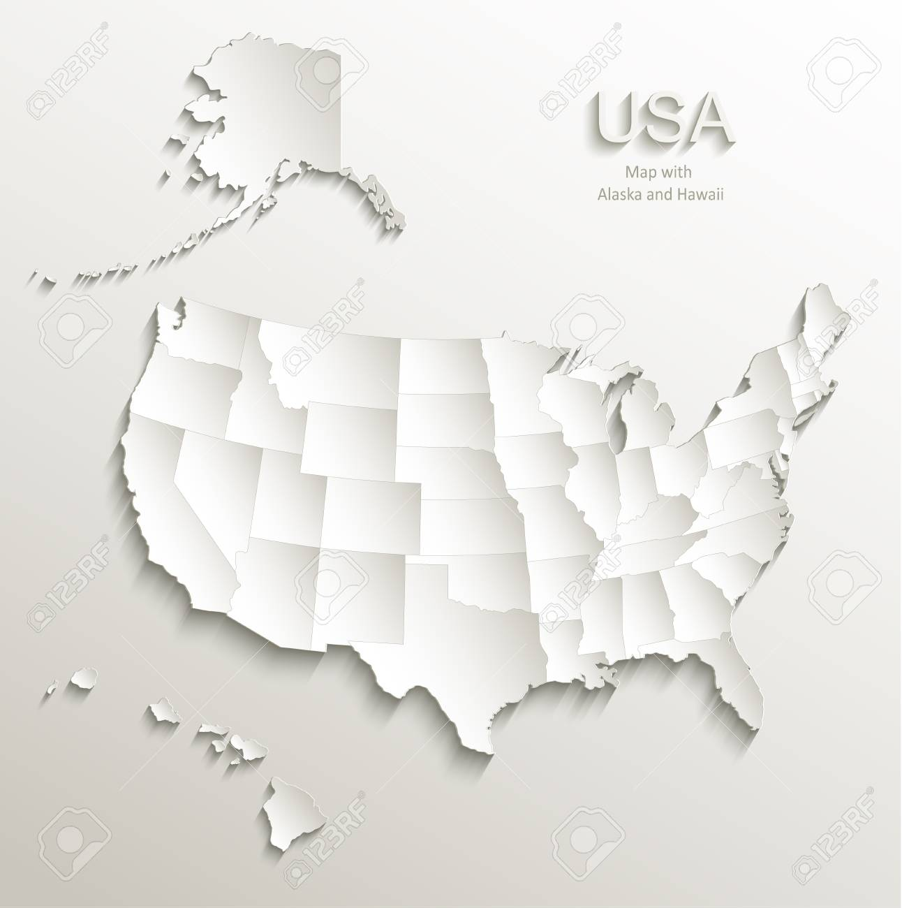 Usa Map With Alaska And Hawaii Separate States Individual Card