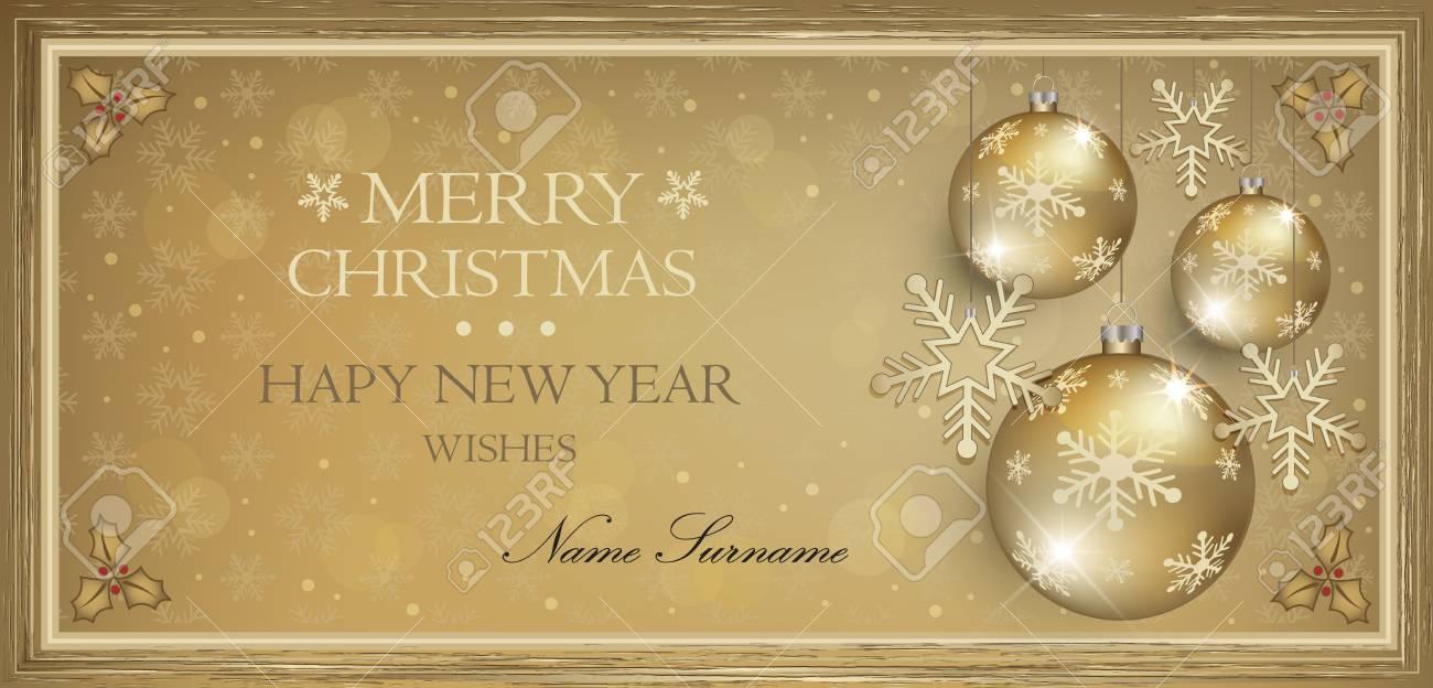 Bon Cadeau Cadeau Or Joyeux Noël Vecteur Carte Vierge