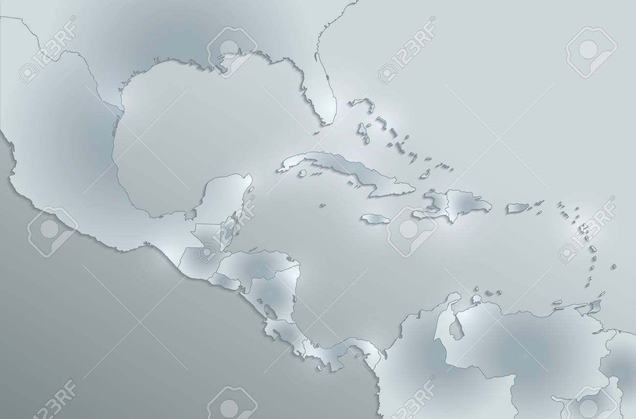 Caribbean islands, Central America map, separate states, card..