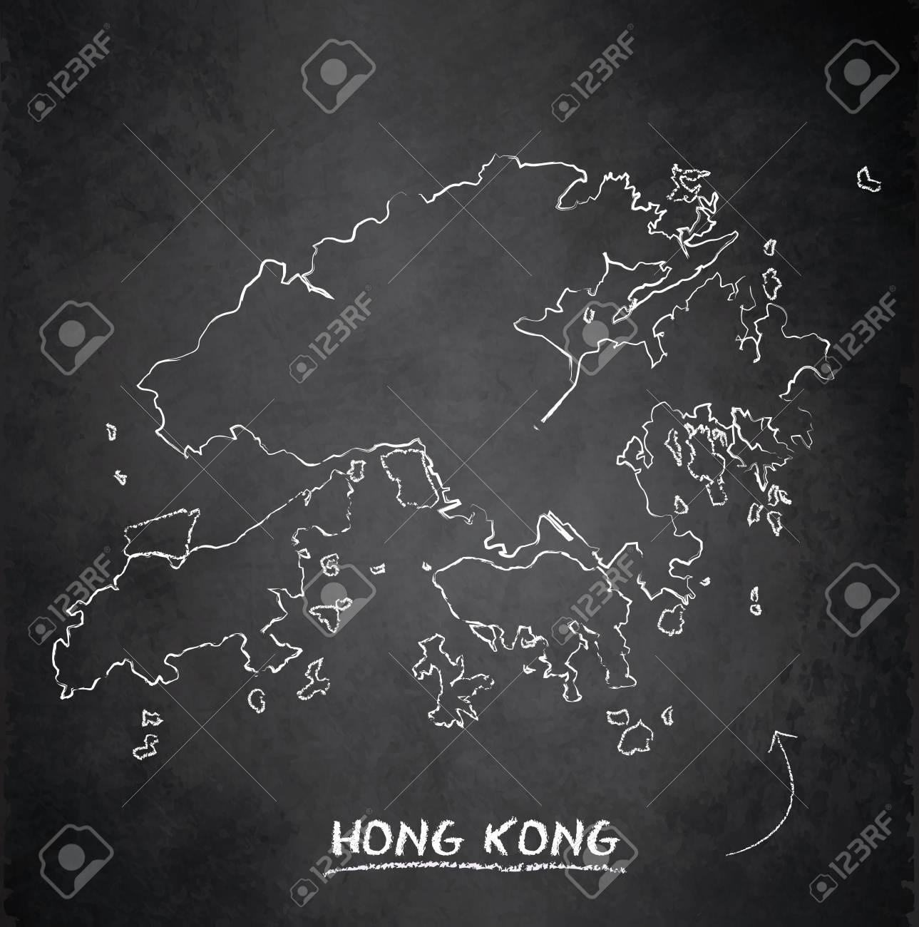 Hong Kong map blackboard chalkboard vector - 98031556