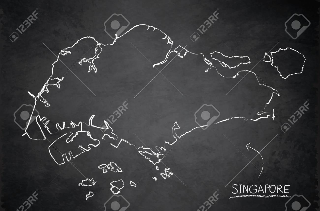 Singapore map blackboard chalkboard vector - 98031553