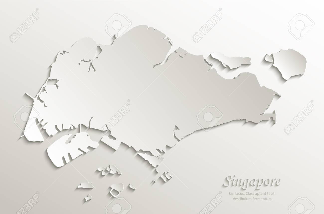 Singapore map paper paper 3D natural vector - 98031552