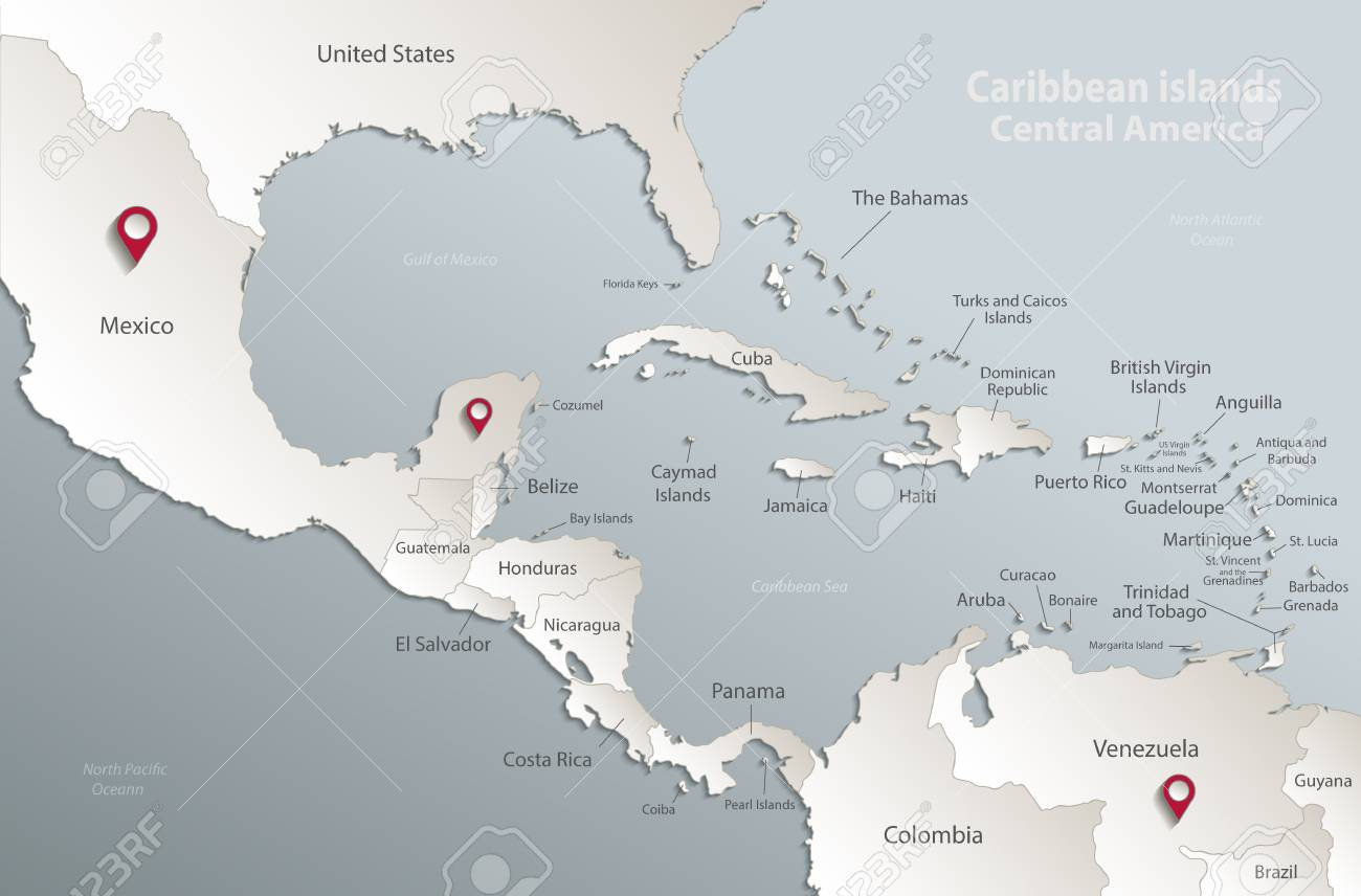 Aribbean Islands Central America Map State Names Separate States